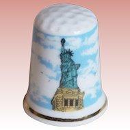 Vintage STATUE OF LIBERTY Porcelain Estate Thimble