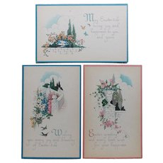 Trio of EASTER Vintage Postcards - Circa 1920s