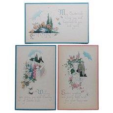Trio of EASTER Vintage Postcards - Circa 1920s