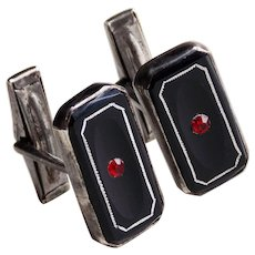 Gorgeous STERLING Black Glass & Red Stone Vintage Cufflinks - Art Deco Style