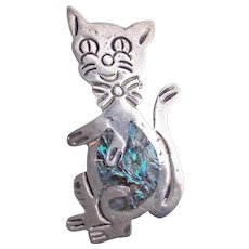 Awesome MEXICAN STERLING Cat Vintage Brooch with Abalone Inlay