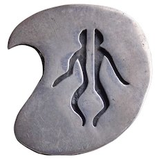 Awesome MEXICAN STERLING Modernist Abstract Man Vintage Pendant Brooch - Signed JS