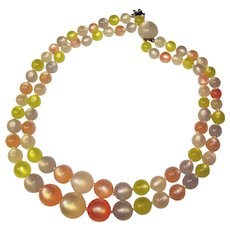 Gorgeous Spring Colors MOONGLOW LUCITE Vintage Beads Necklace