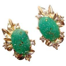 Gorgeous GREEN GLASS Rhinestone Vintage Clip Earrings