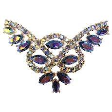 Fabulous Blue Aurora Rhinestone Vintage Brooch