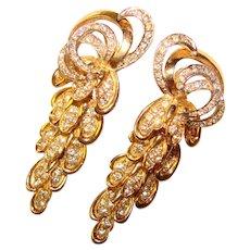 Fabulous BOUCHER Vintage Rhinestone Dangle Clip Earrings