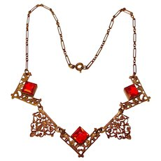 Fabulous ART DECO Filigree Red Glass Stones Necklace