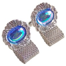 BLUE CARNIVAL GLASS Stones Mesh Wrap Vintage Cufflinks