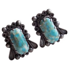 Gorgeous MEXICAN STERLING Turquoise Color Glass Stones Vintage Earrings