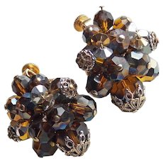Vendome Signed Brown Crystal Vintage Clip Earrings