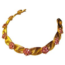 Fabulous TRIFARI Signed Pink Rhinestone Vintage Bracelet