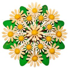 Awesome 1960s DAISY CLUSTER Enamel Flower Power Vintage Brooch