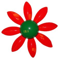 Fabulous 1960s RED & GREEN Enamel Flower Power Vintage Brooch