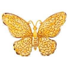 Gorgeous Enamel LACE WING Butterfly Design Vintage Brooch