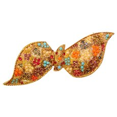 Fabulous D'ORLAN Signed Jeweled Bow Shaped Brooch