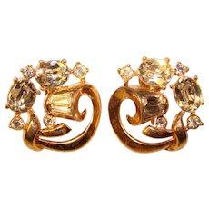 Gorgeous TRIFARI Oval Rhinestone Vintage Clip Earrings