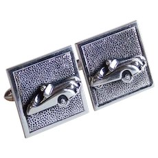 Awesome SPORTS CAR Roadster Vintage Cufflinks - Signed Swank