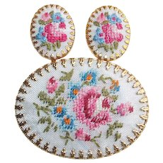 Gorgeous PETIT POINT Vintage Estate Brooch Set - Embroidery