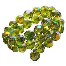 Fabulous Green AURORA CRYSTAL Vintage Wrap Bracelet - Peridot Colored