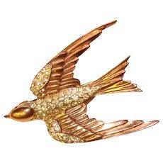 Fabulous CORO STERLING Vintage Rhinestone Bird Brooch