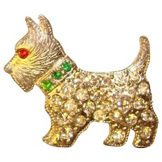Adorable 1940's Vintage SCOTTY Terrier Dog Rhinestone Brooch