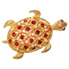 Gorgeous LISNER Signed Red Rhinestone Turtle Brooch