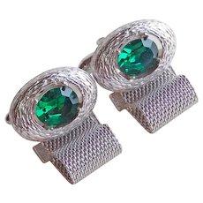 Gorgeous Green Rhinestone Mesh Wrap Vintage Cufflinks
