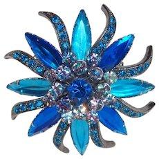 Gorgeous Blue Rhinestone & Lucite Stones Vintage Brooch