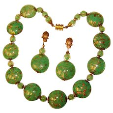 Fabulous VENETIAN MURANO GLASS Aventurine Green Gold Flecked Vintage Necklace Set