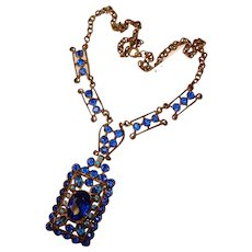 Fabulous BLUE STONES Vintage Pendant Necklace