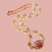 Fabulous Pink Opalescent Foil Glass Beads Vintage Necklace