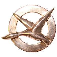 Fabulous STERLING Modernist Design Signed GKco Vintage Bird Brooch