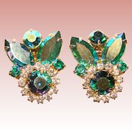 Fabulous PEACOCK GREEN Aurora & Clear Rhinestone Vintage Clip Earrings