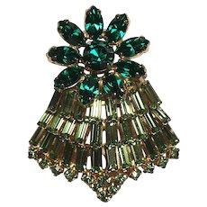 Fabulous LA REL Signed Green Rhinestone Vintage Brooch