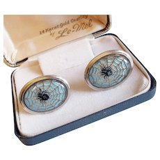 Awesome SPIDER & Web Reverse Molded Glass Vintage Cufflinks - In Original Box