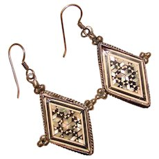 Fabulous STERLING Mosaic Inlay Vintage Dangle Earrings