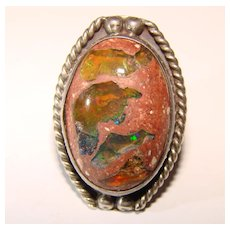 Fabulous Sterling MEXICAN FIRE OPAL Vintage Estate Ring
