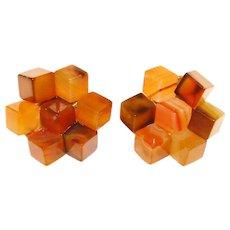Fabulous SWOBODA Signed Vintage Agate Cubes Earrings