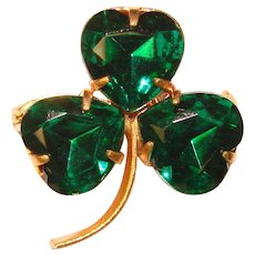 Awesome CZECH Signed Green Glass Clover Brooch