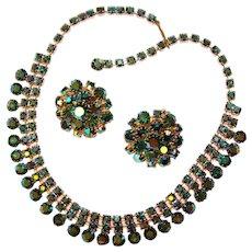 Fabulous PEACOCK AURORA Rhinestone Vintage Necklace Set
