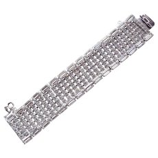 "Fabulous Very Wide Sparkling Rhinestone Vintage Bracelet with Baguettes 1 1/4"" Wide - Great for Wedding"