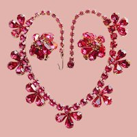 Fabulous PINK RHINESTONE Vintage Necklace & Earrings Set