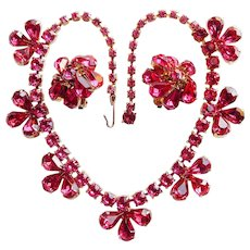 Fabulous Pink Rhinestone Vintage Estate Necklace Set