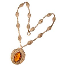 Fabulous ART DECO Filigree & Amber Glass Necklace