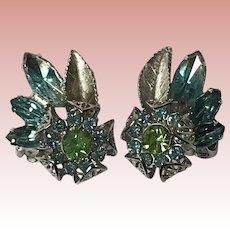 Gorgeous AQUA & GREEN Rhinestone Vintage Clip Earrings