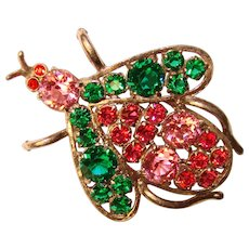 Fabulous 1940's JEWELED INSECT Vintage Brooch