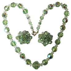 Gorgeous SPRING GREEN Color Aurora Crystal Necklace Set