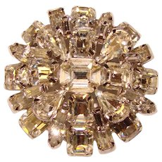 Fabulous WARNER Signed Clear Rhinestone Vintage Brooch