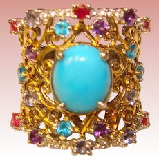 Fabulous Sterling Gold Wash Colored Stones Estate Ring