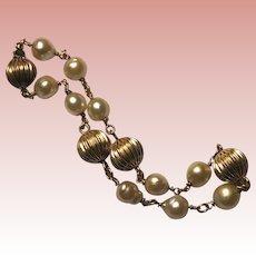 Gorgeous Cultured PEARL Vintage Fluted Beads Bracelet
